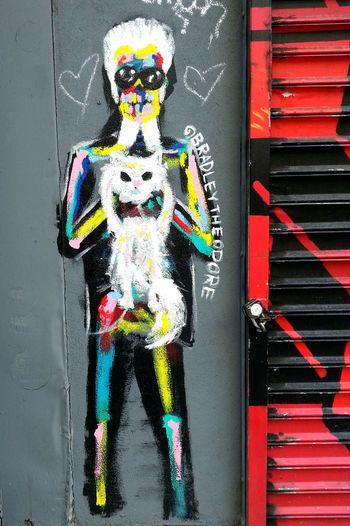 Karl Lagerfeld Street Art Graffiti Art NYC Street Photography NYC Photography New York City Streetphotography Streetart Uppereastside Upper East Side NYC Street Photography Mobilephotography Designer  Pussycat Cat Pastel Power Art Is Everywhere