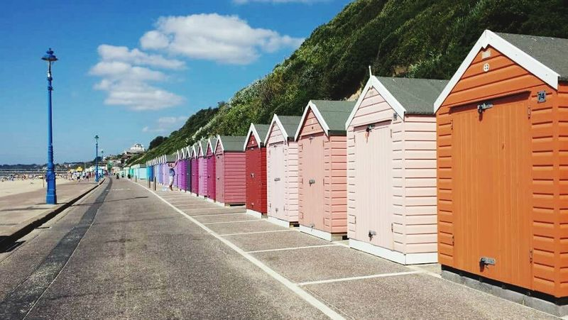Seaside Seaside Hut Colourful Beach Huts EyeEm Best Shots Beachphotography Bournemouth Beach Clouds And Sky Landscapes With WhiteWall Here Belongs To Me Sky Beach Landscape Blue Sky Beach Life Sommergefühle
