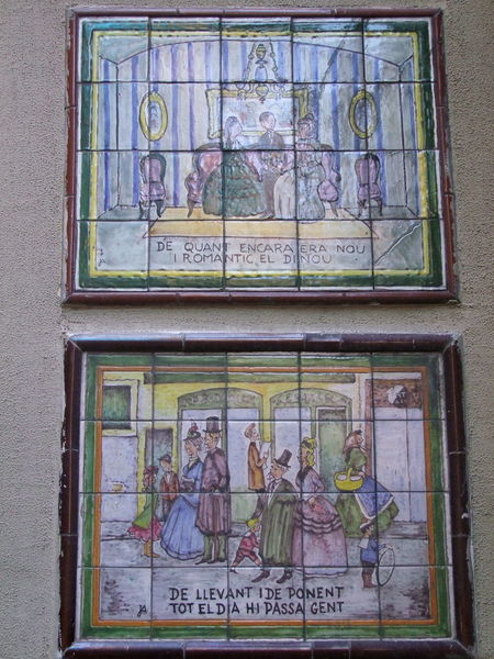 Two tile pictures Barcelona City City Street Close-up Colourful Composition Full Frame Historic History Human Representations Information Low Angle View No People Outdoor Photography Script Signage Spaın Tile Pictures Tiles Tourism Tourist Attraction  Tourist Destination