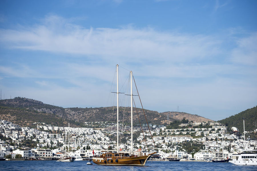 Bodrum Gulet Day Gulet Boat Mountain Sea Sea And Sky Water Yacht Yacht At Anchor