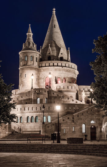 Fisherman's Bastion. Budapest city. Hungary Architecture Budapest Budapest, Hungary Castle Hungary National Neo-Gothic Night Lights Ancient Architecture Building Exterior Culture Europe Famous Place Fisherman's Bastion Heritage Heritage Building History Illuminated Landmark Medieval Architecture Neo-romanesque Night Outdoors Tower Travel Destinations