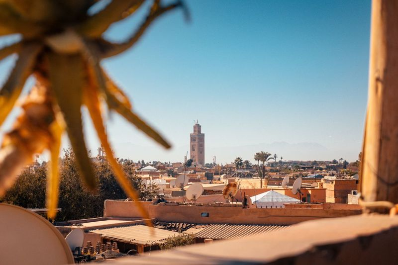 Marrakech. Sky Travel Mosque Medina Morocco Marrakech Architecture Built Structure Building Exterior Sky No People Day Place Of Worship Outdoors Cityscape Clear Sky