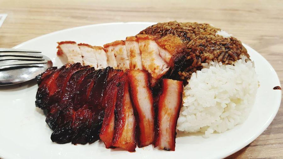 roast pork and barbeque pork rice Pork Pig Roast Pork Char Siew Char Siew Roasted Pork Rice Singapore Singapore Food Food