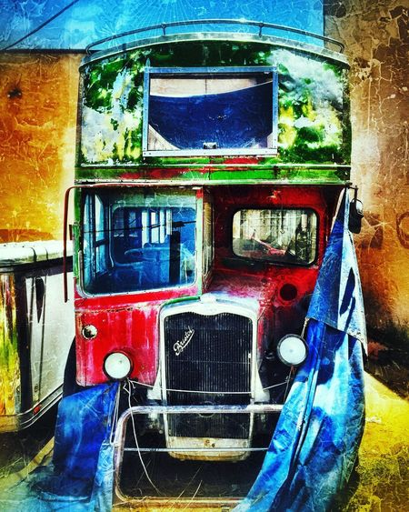 No People Transportation Mode Of Transport Multi Colored Blue Outdoors Day Close-up Bristol Bus Unwrapped Abandoned Forlorn