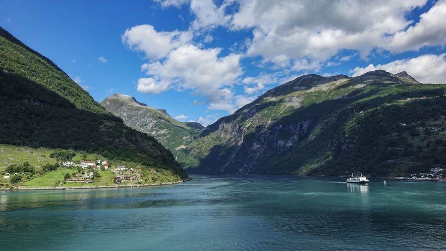 Norway Blue Sky Cruise Scenics - Nature Tranquil Scene Nature_collection EyeEm Nature Lover EyeEm Best Shots EyeEmNewHere Beauty In Nature Fjord Landscape_Collection Landscape Silence Of Nature Cruise Ship Travel Destinations Water Tree Mountain Lake Blue Pinaceae Snow Reflection Glacier Snowcapped Mountain Mountain Range Calm Hiker Scenics