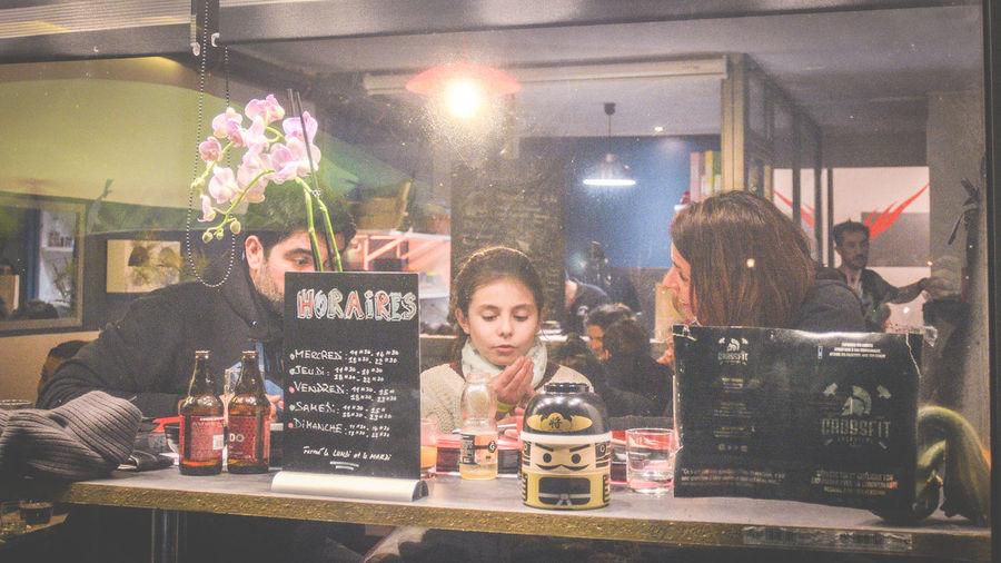 Portrait of people in restaurant