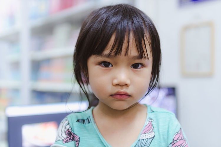 Bangs Casual Clothing Child Childhood Close-up Cute Females Focus On Foreground Front View Girls Hairstyle Headshot Indoors  Innocence Looking At Camera One Person Portrait Real People Women