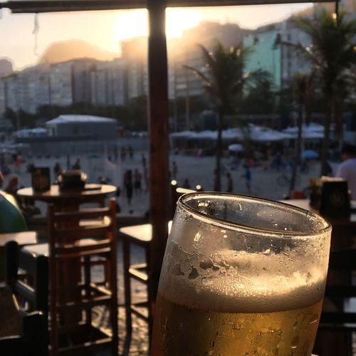 Fim de tarde na Cidade Maravilhosa Drink Rio De Janeiro Drinking Glass Beer LoveInRio Sunset