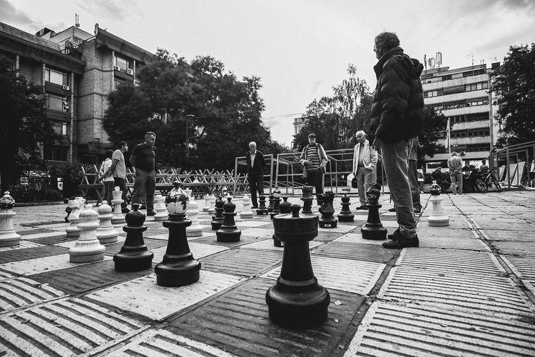 Full frame shot of chess board in park