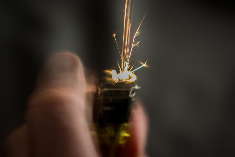Close-up of hand on lighter