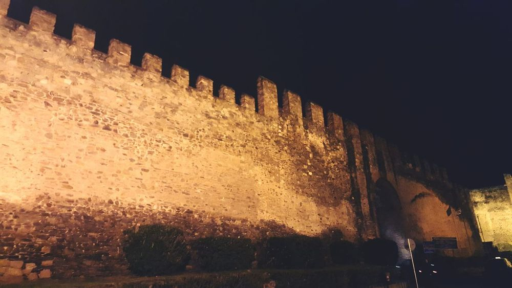Overnight Success Wall - Building Feature Architecture Built Structure Transportation Mode Of Transport Concrete Building Exterior Outdoors Weathered No People Historic Greece Thessaloniki Castel High Way Night Sky Stone Wall Stone Material