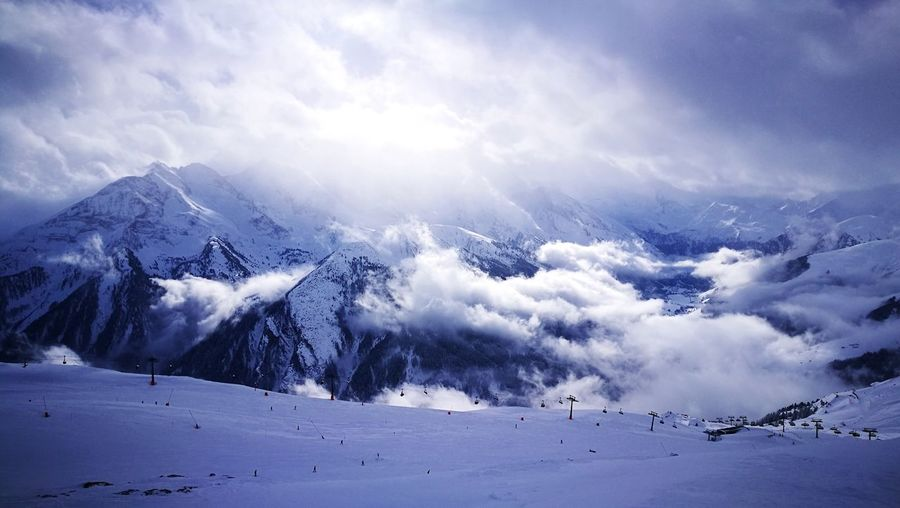 Hello snow! :-) Snow Cold Temperature Mountain Cloud - Sky Nature Winter Scenics Dramatic Sky Beauty In Nature Landscape Travel Destinations Shades Of Winter