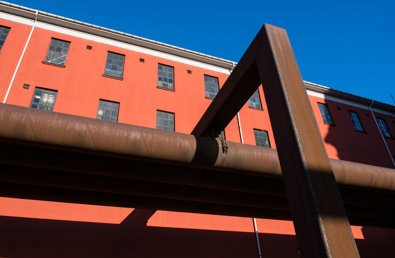 Architecture Building Exterior Built Structure Copenhagen District Heating Pipes Low Angle View No People Rust