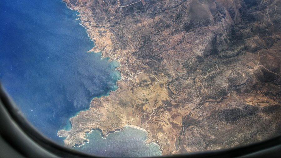 Aerial view of island and sea