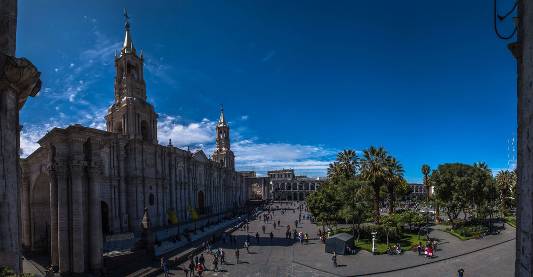 Arequipa Beautiful City Blue Sky Cathedral Panorama View Peru Plaza De Armas South America Sunny Day Travel Destinations Traveling EyeEmNewHere