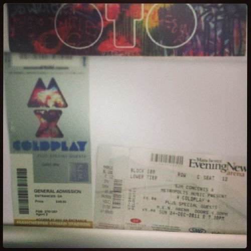 Coldplay tickets <3 Coldplay Manchesterarena Myloxylototour 2011 2012