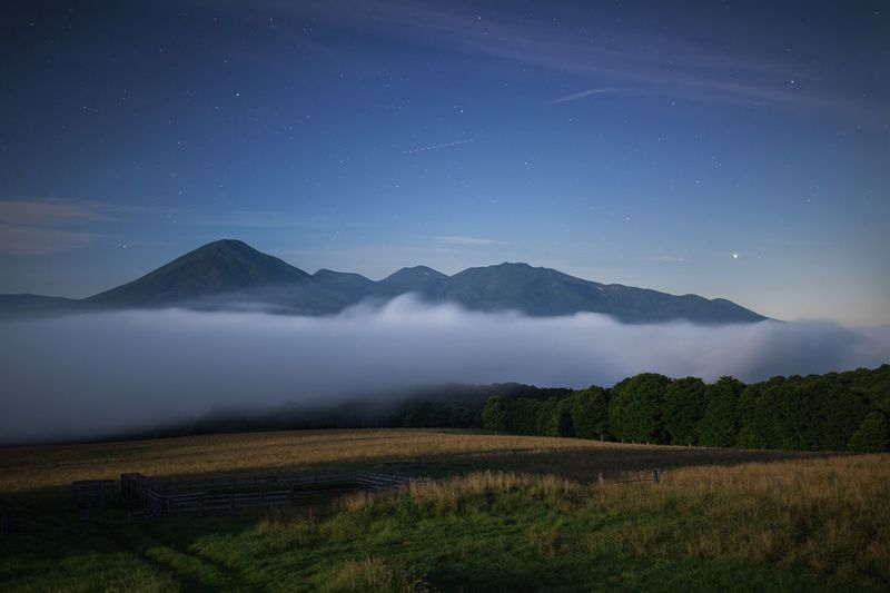 Nature Landscape Trees Japan Mountains Light And Shadow Fog Night Nightphotography Night Photography Stars Moon Light