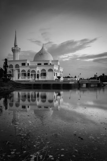 mosque nearest lake Architecture Belief Building Building Exterior Built Structure Cloud - Sky Dome Nature No People Outdoors Place Of Worship Reflection Religion Sky Spirituality The Past Tourism Travel Travel Destinations Water Waterfront