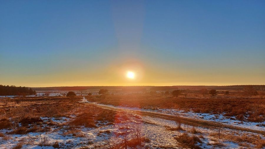 Scenic view of snowy field against clear sky during sunset