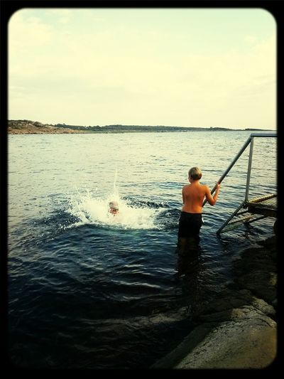 Evening swim Sea Summer Sweden