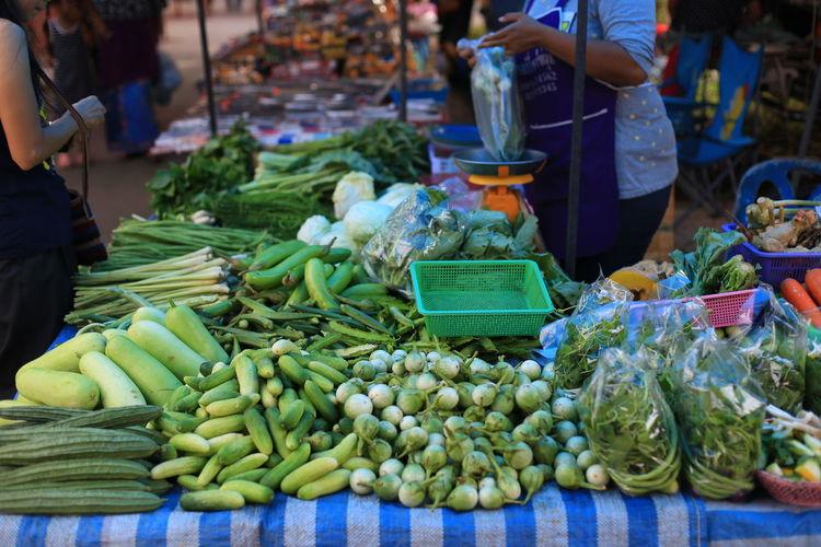 Fresh Vegetables On Market Stall