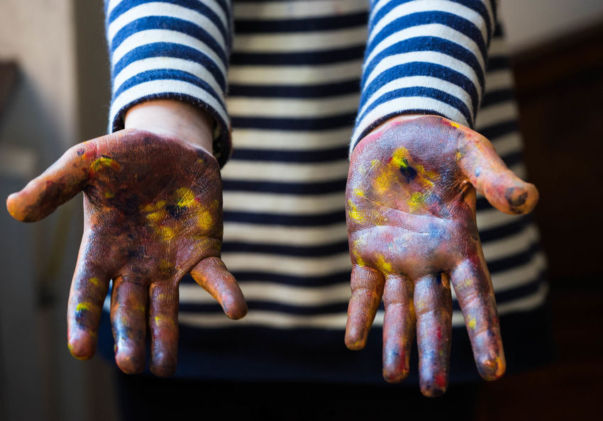 little artist hands dirty in paint Artist Hands Paint Art Artist Hand Child Childhood Close-up Day Dirty Human Body Part Human Hand Indoors  Kid Midsection One Person People Striped Working Process