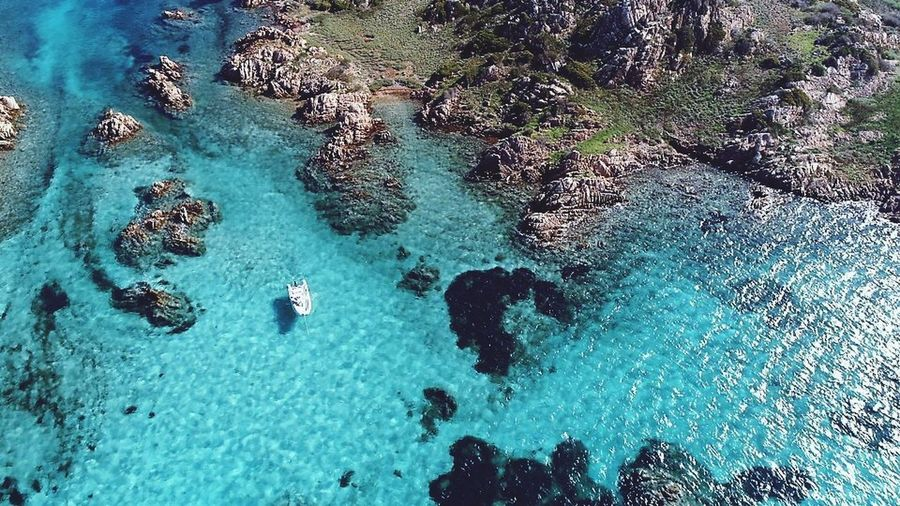 Isola di Arcipelagodellamaddalena Sintonia Sardegna Water High Angle View Nature Sea Day Blue Land Vacations Beauty In Nature
