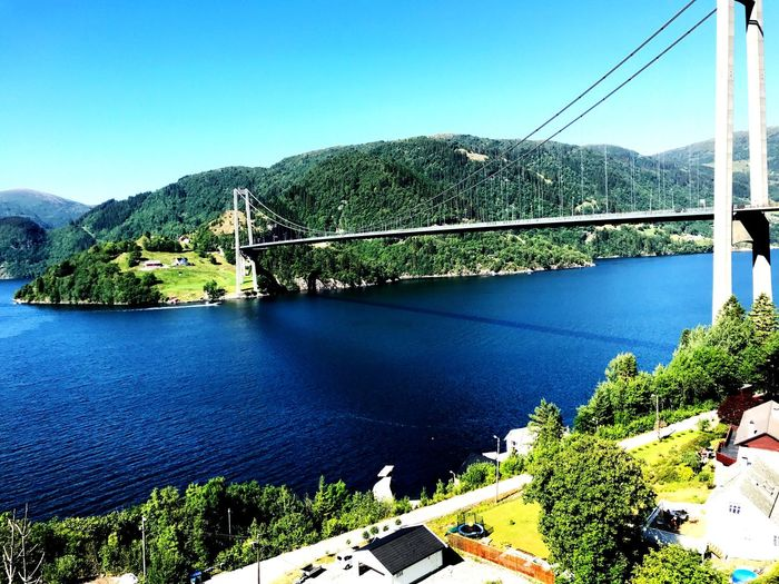 Outside Bergen, Norway Bridge Sky Plant Tree No People Beauty In Nature Mountain Clear Sky Outdoors Sunlight Architecture
