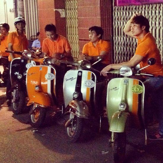 Touristy night out with Vespa-Tours ... Saigon Vietnam Vespa Hanging Out