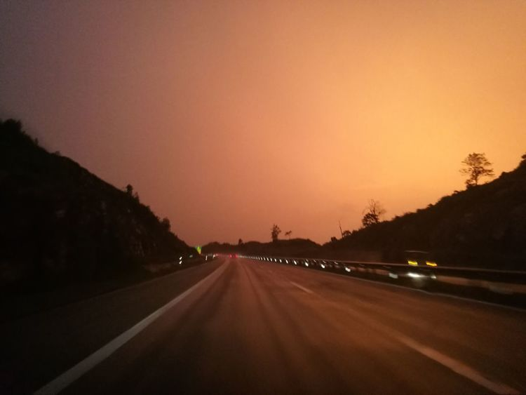 Road Sunset No People The Way Forward Journey Landscape Outdoors Night Nature Sky Orange Color Nature Pahang Darul Makmur Road Sign Tree Road Malaysia Twilight