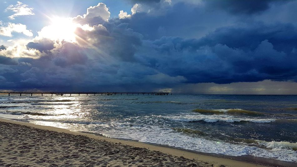 Samsung Galaxy S7 Nature Photography Beauty In Nature Sea And Sky Landscape Urlaub Landscape_Collection Strand Samsungphotography EyeEm Selects Sky Sonnenuntergang Ostsee Fischland-darß-zingst Deutschland Water Wave Sea Beach Beauty Sunset Sand Blue Summer Sunlight Storm Cloud Seascape Dramatic Sky Sky Only Coast