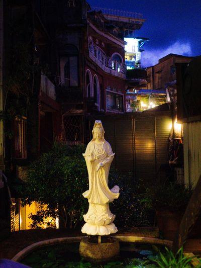 Statue in front of illuminated garden at night