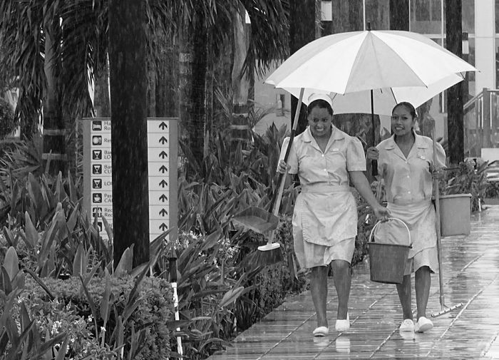 Raining in Mexico Rain Raining Maids Umbrella Black And White WorkingMexico Storm