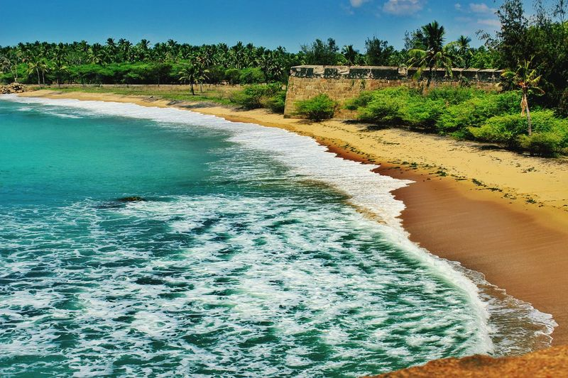 Fort at the beach... Fort Fort At The Beach History Fort Wall Beach Sea Waves Ripples White Waves Sand Forest Coconut Trees Nature Nature At Its Best Showcase March Landscapes With WhiteWall Photography In Motion Blue Wave The Great Outdoors - 2017 EyeEm Awards