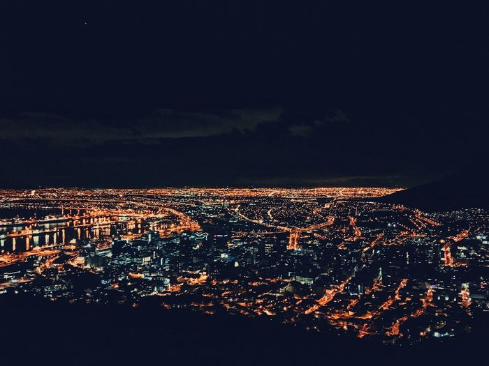 Nightlights of Cape Town City. Architecture Building Exterior Built Structure City Cityscape Community Crowded Harbor Illuminated Night Night Lights Outdoors Reflections Residential  Sky