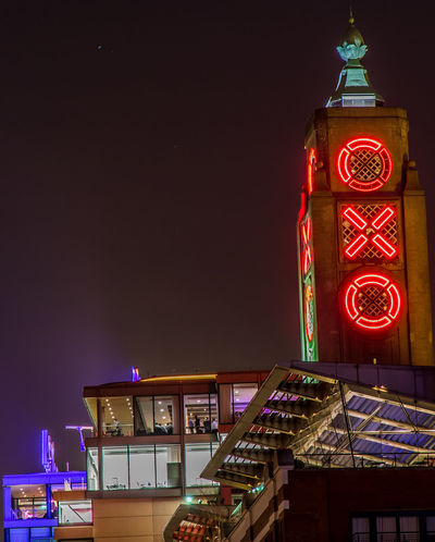 Architecture Building Exterior City Illuminated Low Angle View Night No People Outdoors Oxo Oxo Tower Red Red Letters Riverside Skyscraper Tower