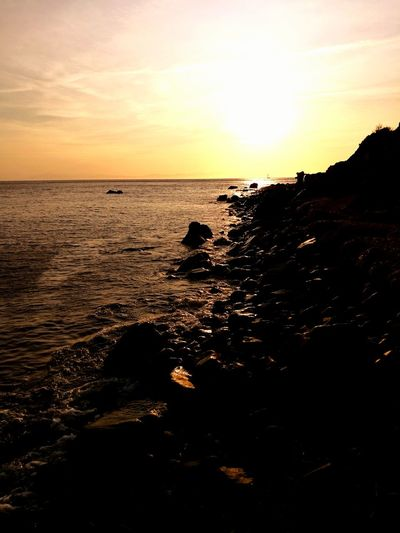 Summer Exploratorium Water Wave Sea Sunset Beach Silhouette Horizon Sunlight Sun Awe Romantic Sky Atmospheric Mood Coast