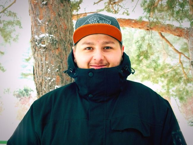 Looking At Camera Portrait Front View One Person Headshot Smiling Cheerful Winter Tree Outdoors First Eyeem Photo