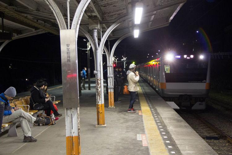 Night Outdoors Public Transportation Rail Transportation Railroad Station Platform Real People Train - Vehicle Transportation Women