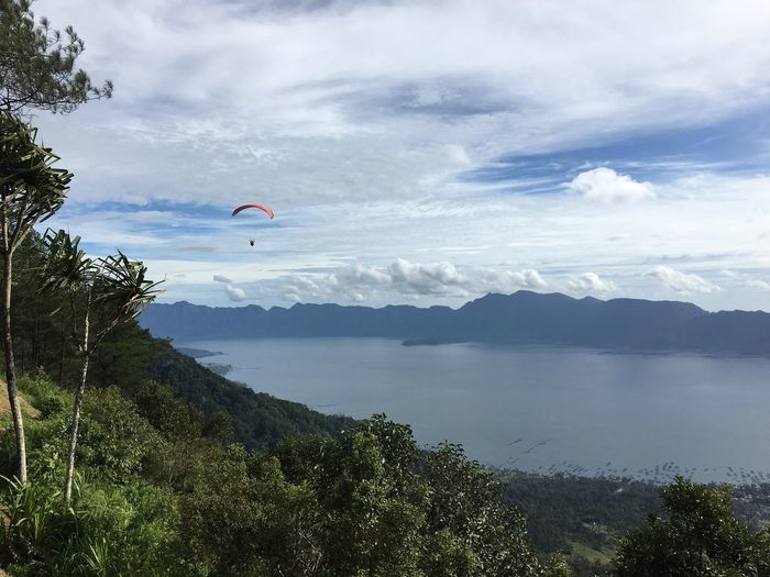 Eyeemphoto Paragliding on top of Volcano Crater Lake Travel Tourism Sumatra  INDONESIA