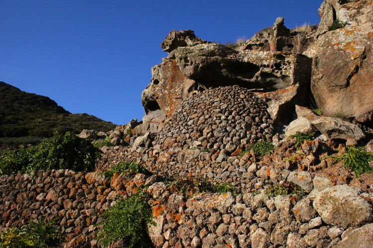 Pantelleria Blue Built Structure Clear Sky Day Geology Nature No People October 2015 Outdoors Rock - Object Sky Stone Wall