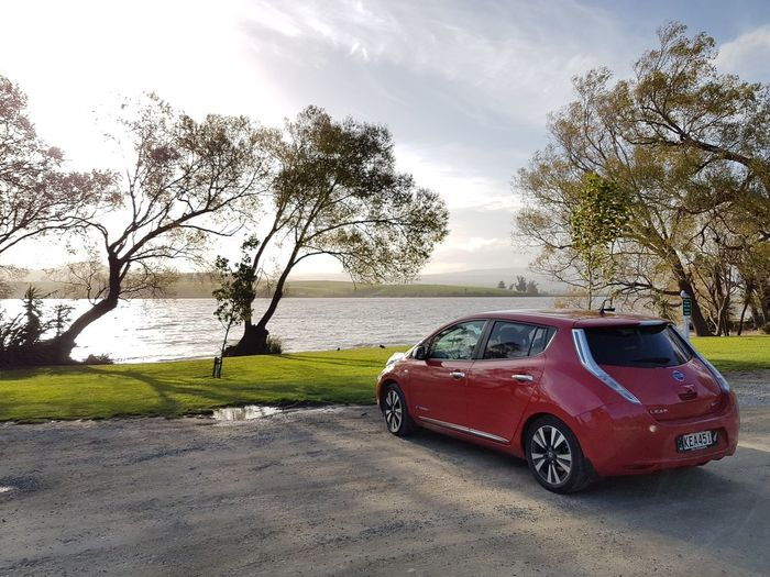 My LEAF by Lake Waihola on a (Southern) autumn day. Car Transportation Beach Cloud - Sky Outdoors Tree Horizon Over Water Ev Electric Car Nissanleaf