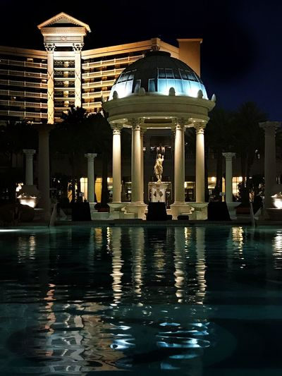 The pool at Caesars Palace and Resort Architecture Built Structure Architectural Column Illuminated Reflection Night Dome Statue Outdoors Water Travel Destinations Building Exterior Las Vegas NV