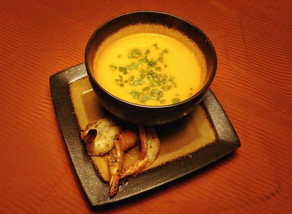 Mariscada Soup Bowl Seafood Soup Latin Food Table Plate High Angle View Saucer