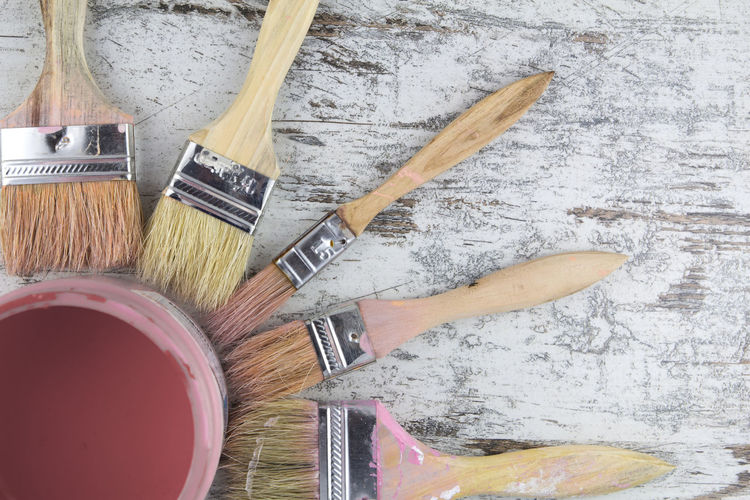 Paintbrushes and paint can in a wood background, vintage Vintage Paint Paintbrush Paintcan Can Pot Box Container Art Painting Brush Background Old Artist Design Retro Wallpaper Artistic Tool Fair Painter Supplies Equipment Creativity Wood Craft Paintings Pink Wooden Brushes Style Colorful Fine Drawing Studio Antique Work Object DIY Crafts Handmade Handimade Craftsmanship  Set