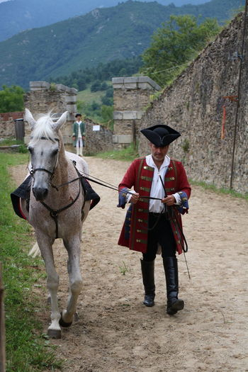 Fort Lagarde France Day Field Grass Horse Mammal Mountain Nature One Person Outdoors People Real People Uniform