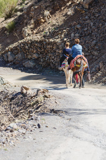 Two touris riding donkey in Atlas mountains Done That. Fun Lifestyle Morocco Old Town Something Different Travel Active People Be There Donkey Donkey Riding Enjoy Explore Nature Rear View Relax Rocks Teamwork Togetherness Tourism Travel Activity Travel Destination Two People Visit Women