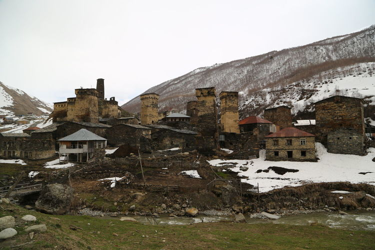 Georgia Mestia/town In Svaneti/Georgia Architecture Built Structure Building Exterior Sky Building Clear Sky Nature Day House No People Cold Temperature Mountain Snow Winter Residential District Outdoors Old History Rock