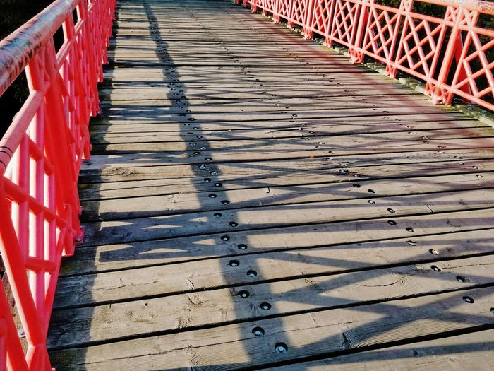 The Way Forward vanishing point Copy Space Light And Shadow Travel Destinations Travel Red Bridge - Man Made Structure Footbridge Pathway Walkway Diminishing Perspective Empty Road
