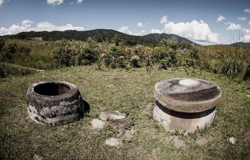 Kalamba Megalith in Doda Village, Poso, Central Sulawesi, Indonesia. Celebes INDONESIA Kalamba Landscape Megalith Megalithicsite Prehistoric Still Life Stone Pots Sulawesi